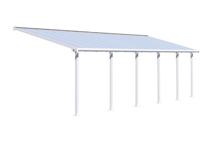 Pergola en aluminium blanc 3 x 8 m et toiture polycarbonate Patio Cover Palram