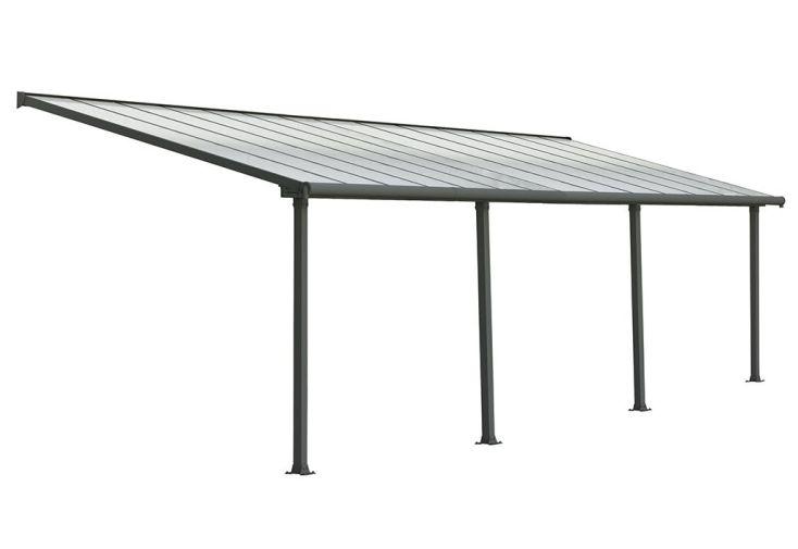 Pergola grise en Aluminium et Polycarbonate 16 mm Olympia 8,51x3 m