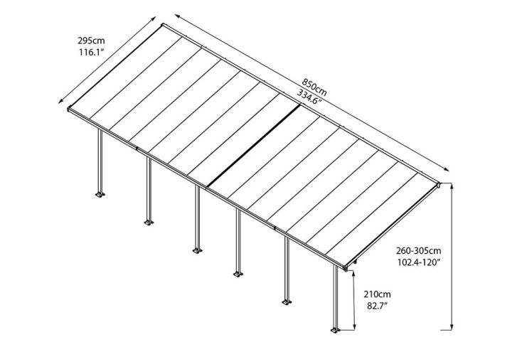 Pergola Aluminium Patio Grise (300x850)