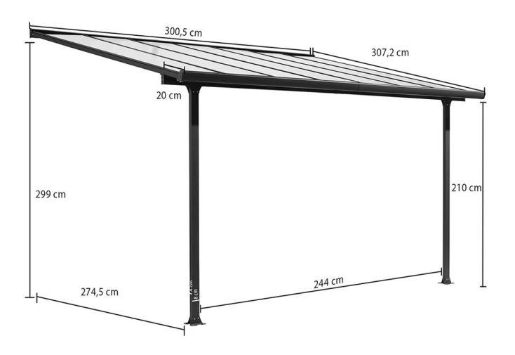 Pergola en Aluminium Gris et Polycarbonate (307x300x299cm)