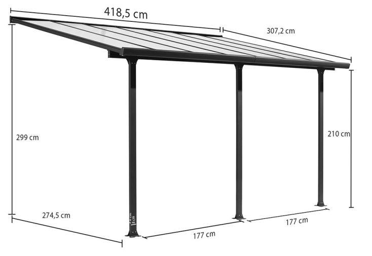 Pergola en Aluminium Gris et Polycarbonate (307x418x299cm)