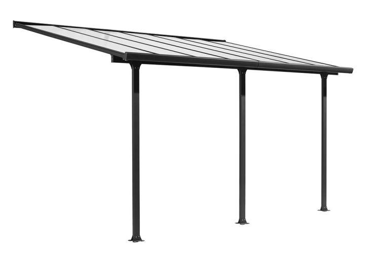 Pergola en Aluminium Gris et Polycarbonate (307x501x299cm)