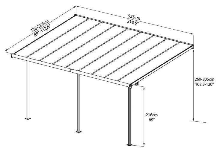 pergola elite en aluminium et polycarbonate 555x295x260cm ad domo. Black Bedroom Furniture Sets. Home Design Ideas