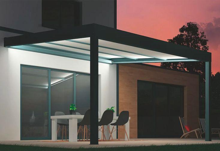 Pergola bioclimatique toiture rétractable et éclairage LED