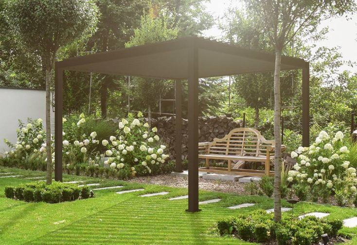 pergola bioclimatique en aluminium gris anthracite 13 m² 3,6 x 3,6 m