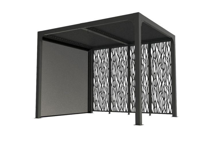 pergola bioclimatique avec store latéral et brise-vue 7,2 m²