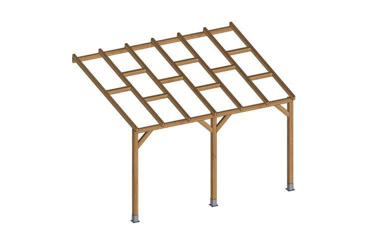 Pergola en bois trait autoclave sans couverture 3x3 7m for Cuisine 3m x 3m