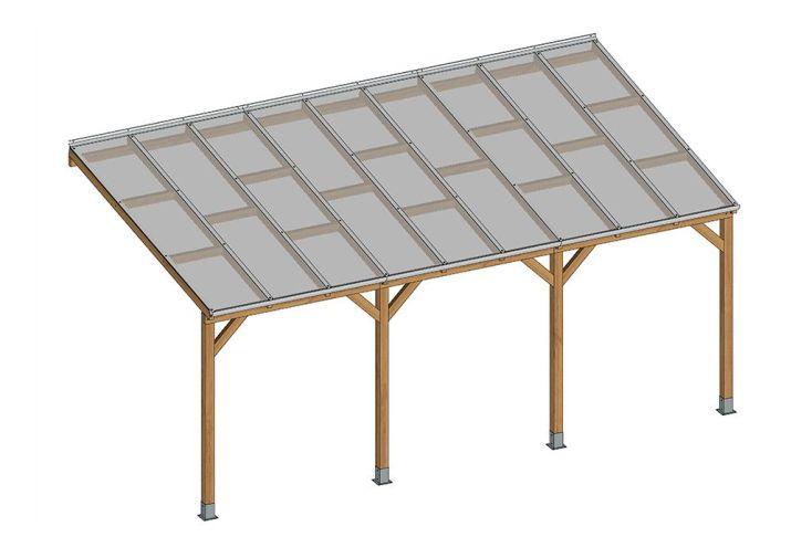 Pergola en bois trait autoclave avec polycarbonate 6mm for Prix piscine 3x5