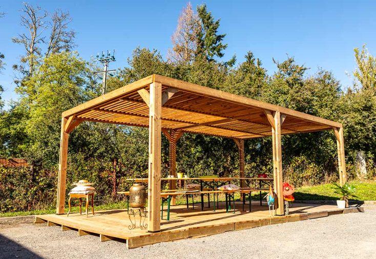 Pergola en Bois d'Épicéa Traité Couverture Ventelles Mobiles Habrita 20,93 m²
