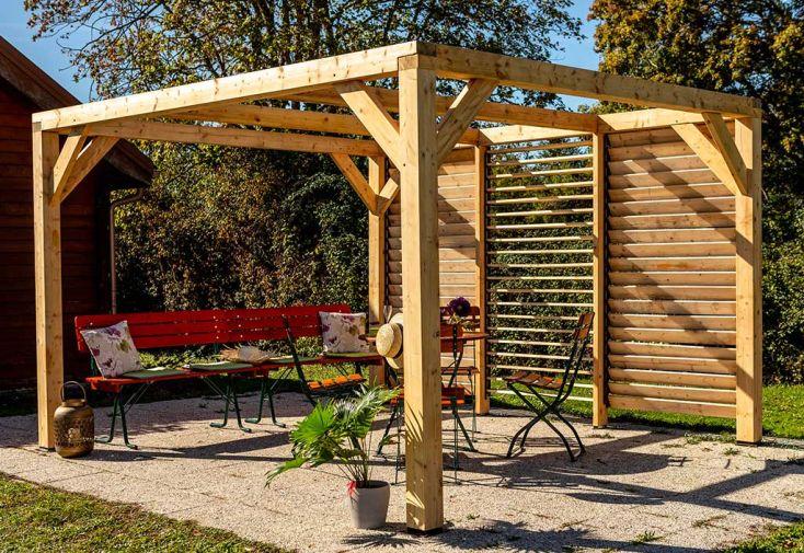 Pergola en Bois de Sapin et Douglas avec Ventelles Mobiles Sans Couverture Habrita Veneto 10 m²