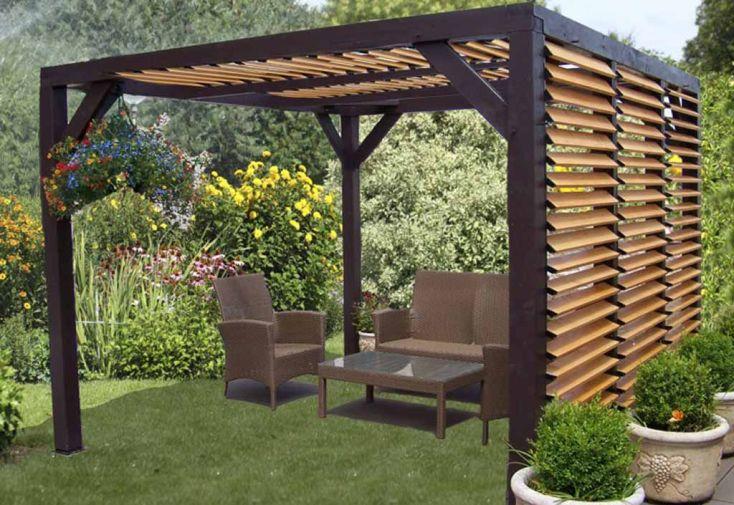 Pergola ombra avec lames orientables c t et toit en bois - Pergola en bois pour jardin ...