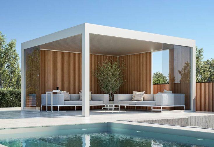 Pergola autoportée Gardival Maluwi 15 m² blanc parois fixes en bois et parois coulissantes en verre