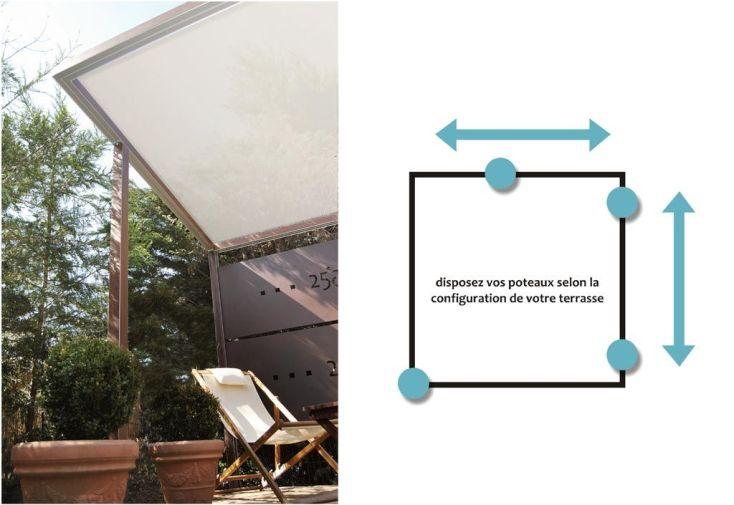 Pergola toile tendue 3x3m poteaux positionnables