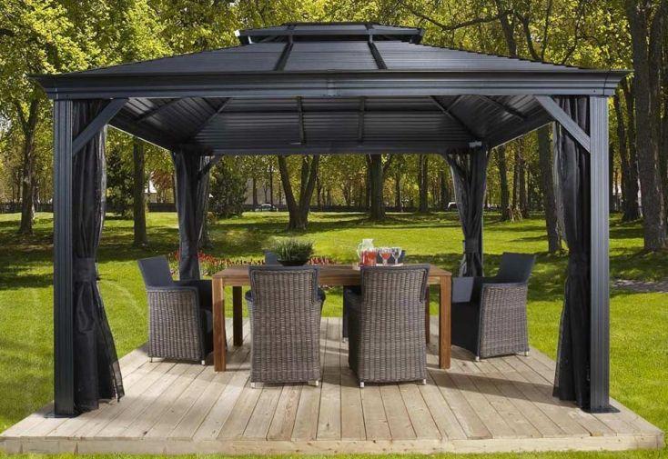 pergola en aluminium avec toiture acier galvanisé 11 m2