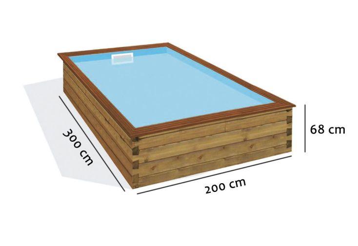 Piscine pour Enfant en Bois Rectangulaire – Mini Quartoo 200x300 cm