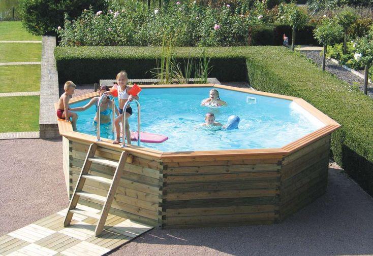 Piscine bois hors sol ronde octoo 5 0 500 cm gardipool for Promo piscine bois octogonale