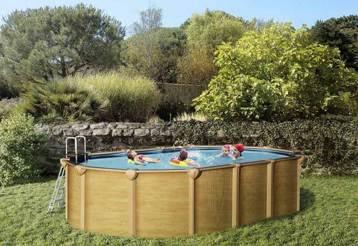 Piscine en m tal aspect bois hors sol ovale 640x390cm for Piscine aspect bois