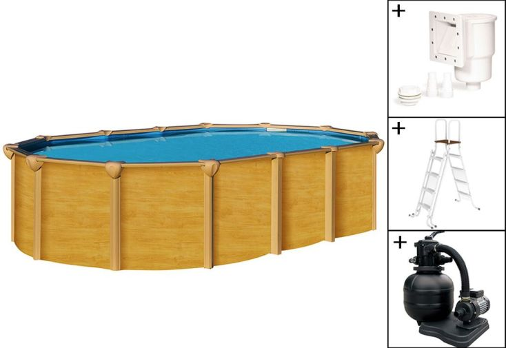 Piscine en m tal aspect bois hors sol ovale 755x390cm for Piscine hors sol metal