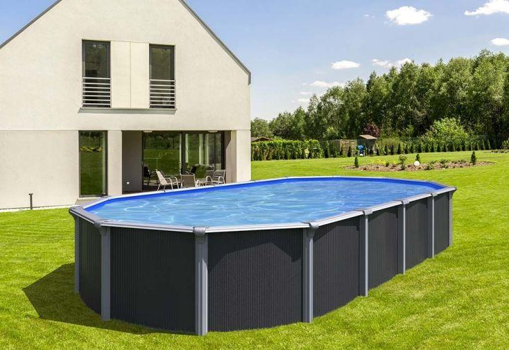 piscine ovale Abak en métal gris anthracite 5,20 m hors sol avec échelle