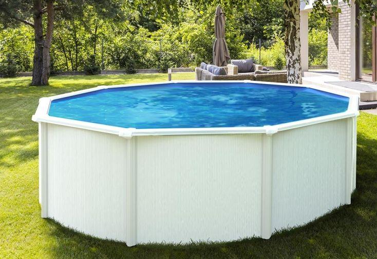 piscine en métal hors sol ronde blanche avec échelle 390 cm