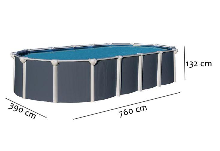 Piscine Métal Anthracite Hors-Sol Ovale Osmose 760x390cm + Accessoires
