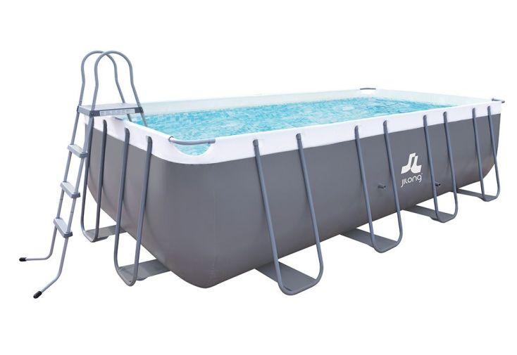 grande piscine tubulaire en acier avec liner PVC gris 5 m