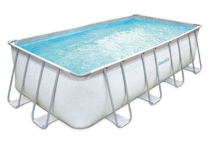 piscine tubulaire en métal et en PVC blanche rectangulaire