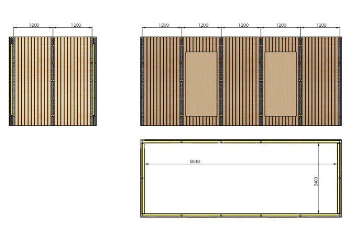 Bungalow Studio en Bois Traité et Isolé 6x2,5m