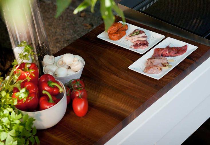 Plan de Travail en Noyer pour Cuisine d'Extérieur Indu+