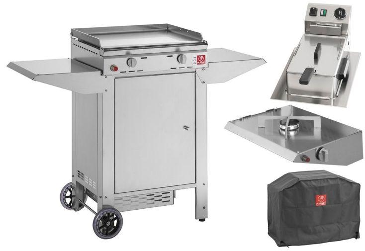 plancha gaz avec chariot fermé, housse, feu supplémentaire et friteuse