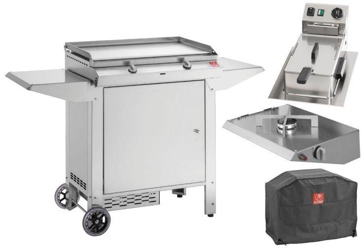 plancha gaz avec chariot, friteuse, feu gaz supplémentaire et housse de protection