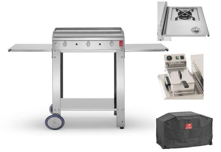 Chariot ouvert pour plancha au gaz en inox avec friteuse, feu latéral et housse