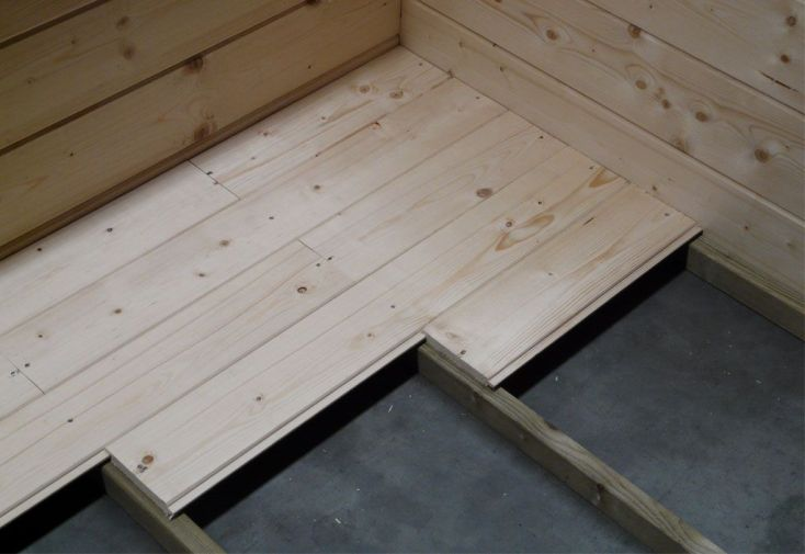 Plancher en bois massif 16 mm pour abri Arhus