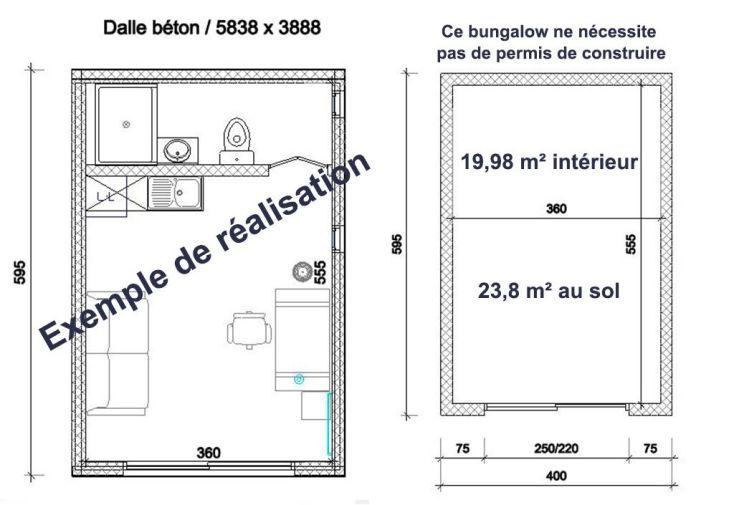 Bungalow Studio 5,95x4m Livré Monté