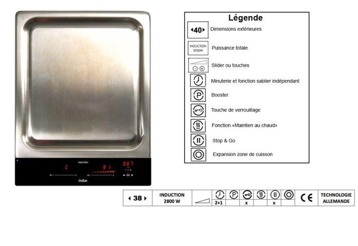 Plaque de cuisson Induction Teppanyaki 38cm 2800 W