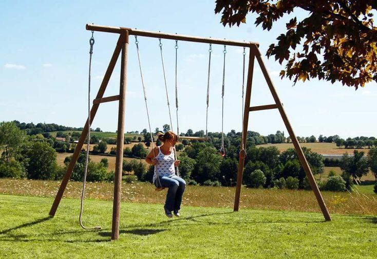 portique balannçoire en bois traité autoclave pour adulte et ado