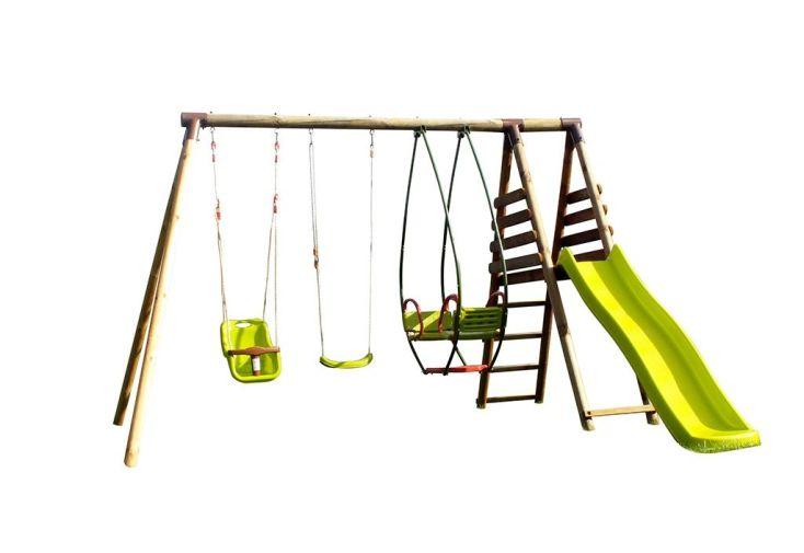 portique en bois traité autoclave avec toboggan, nacelle, balançoires enfant et bébé