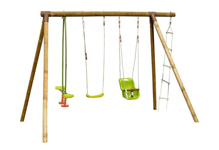 portique en bois autoclave avec balançoire enfant et siège bébé