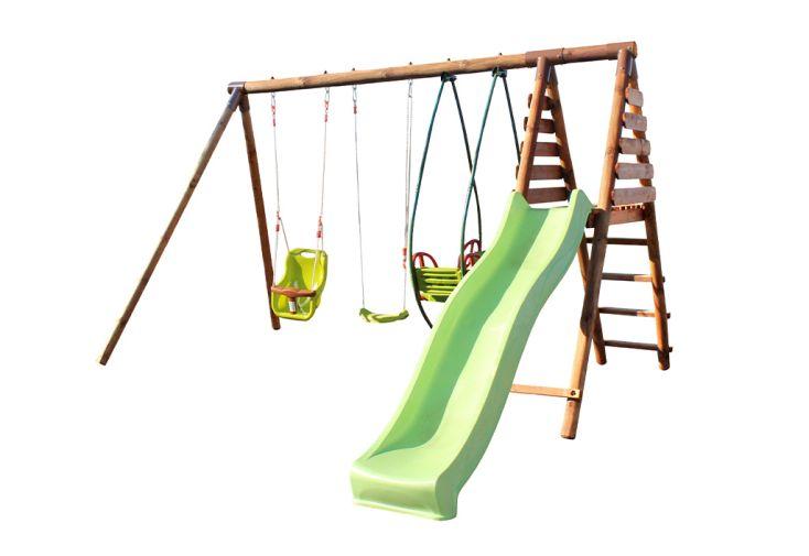 Portique pour 5 enfants avec toboggan, balançoire, siège bébé et balancelle