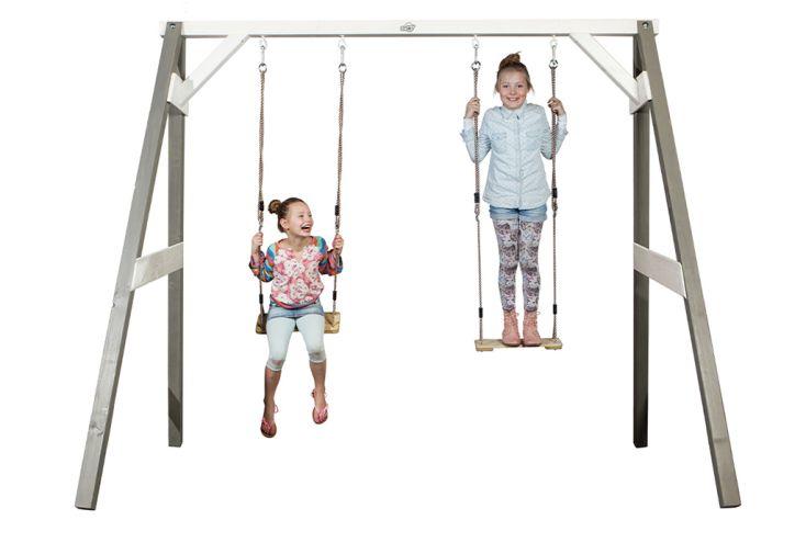 portique en bois gris double balançoires Axi balançoire enfants jardin