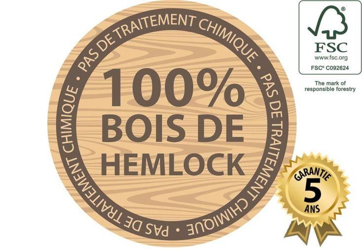 portique en bois de hemlock certifié FSC et garanti pendant 5 ans