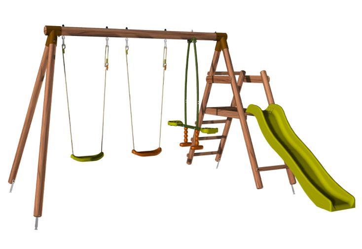 Portique en bois avec toboggan et 2 balançoire et 1 face-à-face