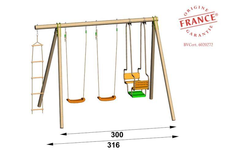 Portique Balancoire Bois 2,30m TO503