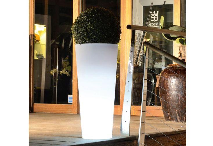 grande jardinière lumineuse en plastique blanc 85 cm