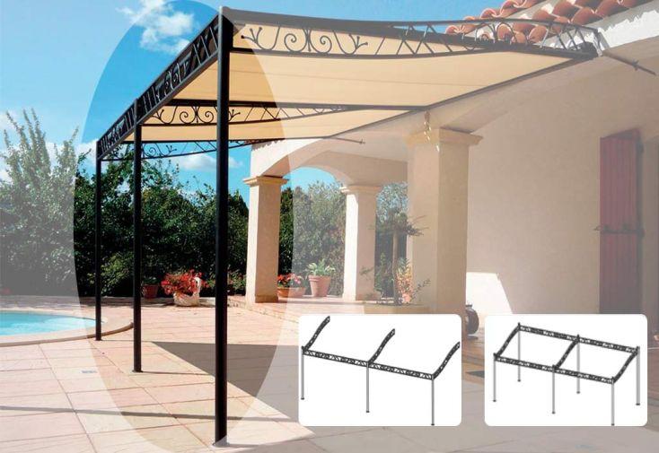Trois Poteaux + Frise pour Tonnelle Atrium à 2 Travées