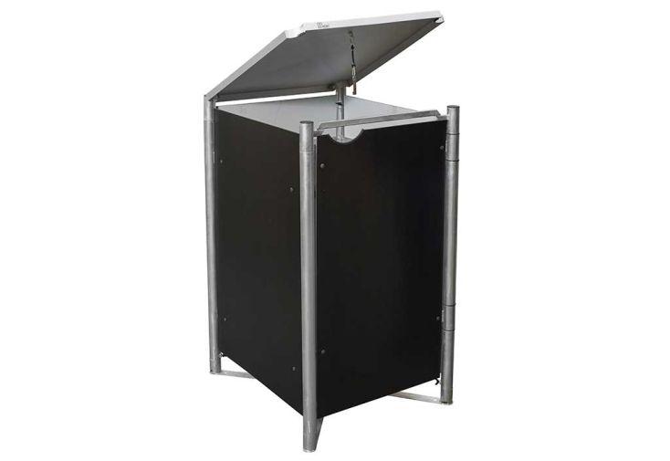 Cache-poubelle simple en acier et composite aluminium noir