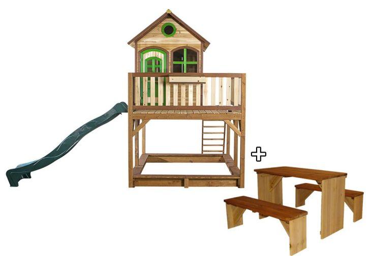 Maison Enfant Bois Liam 1 + Table de Pique-NiqueZidZed XL