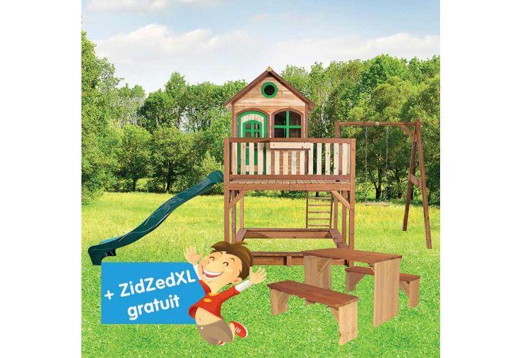Maison Enfant Bois Liam 2 + Table de Pique-NiqueZidZed XL