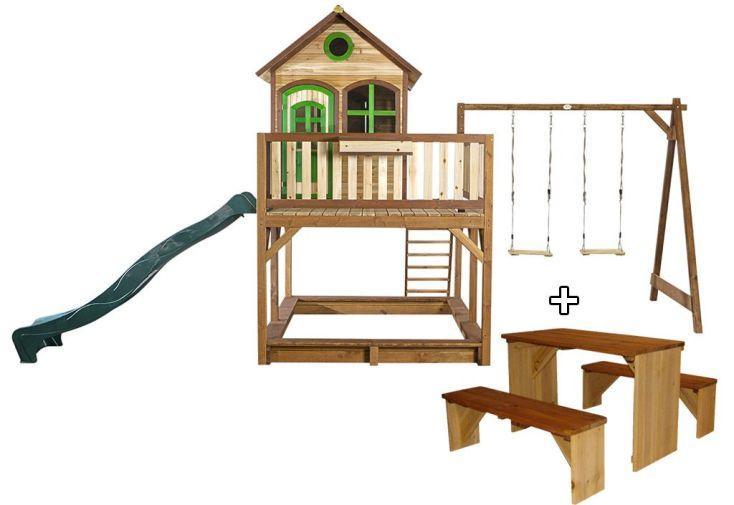 Maison Enfant Bois Liam 3 + Table de Pique-NiqueZidZed XL