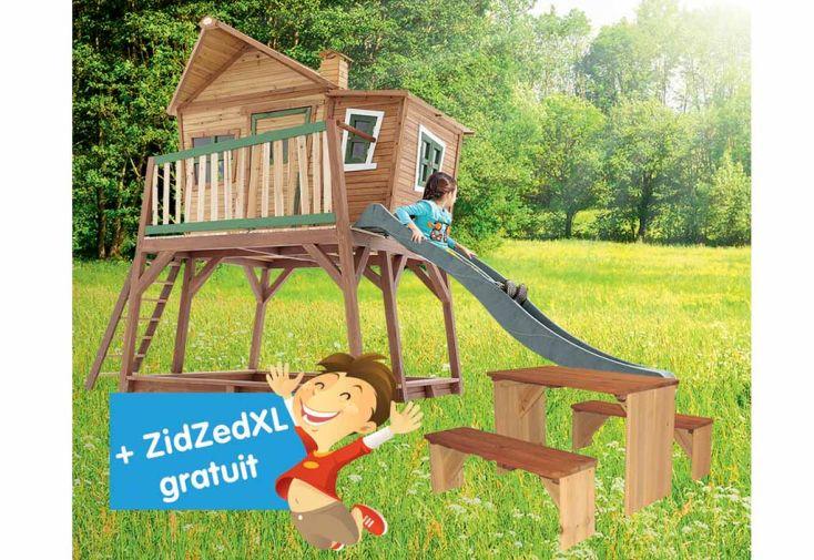 Maison Enfant Bois Max + Table de Pique-NiqueZidZed XL